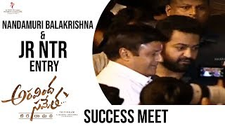 Nandamuri Balakrishna And Jr Ntr Entry @ Aravinda Sametha Success Meet