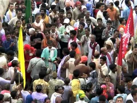 People dancing in religious fervour at the Jagannath Puri Rath Yatra in Puri, Orissa