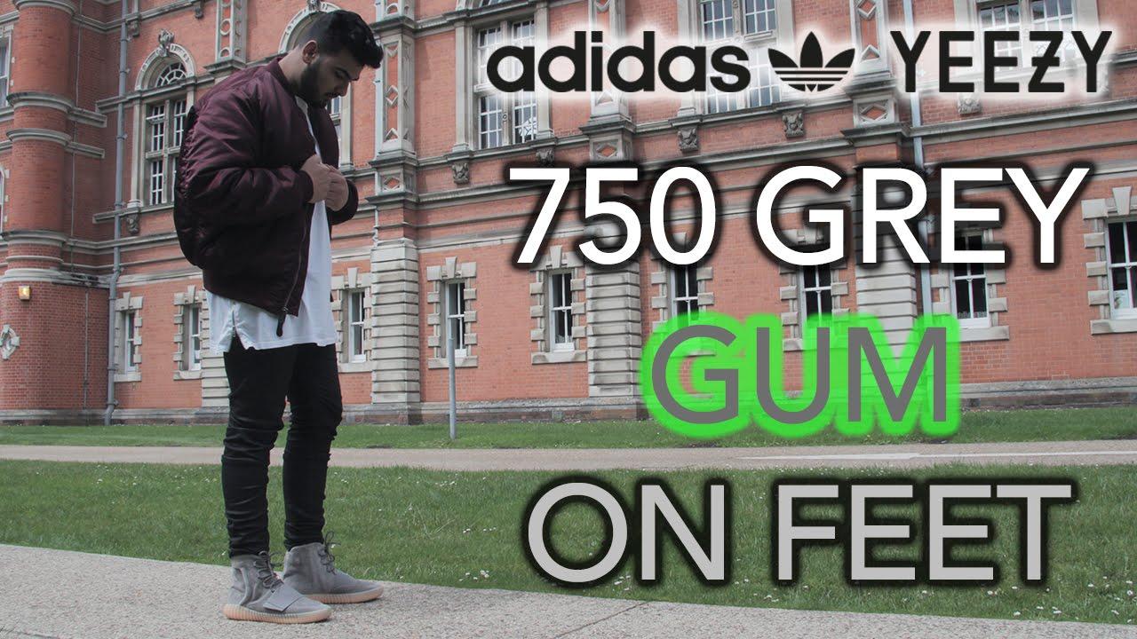 953ac15d895 Adidas Yeezy 750 Grey Gum On Feet