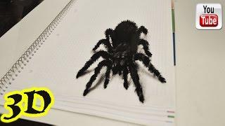 Как рисовать паука. 3D иллюзия.(3D иллюзия на листке бумаги. ПРОСТЫЕ 3D рисунки - http://www.youtube.com/playlist?list=PL9RJD2tRjH9UJ0pvQhGXJGSOsPsrQE4Uj 3D РИСУНКИ ..., 2016-06-30T15:59:32.000Z)