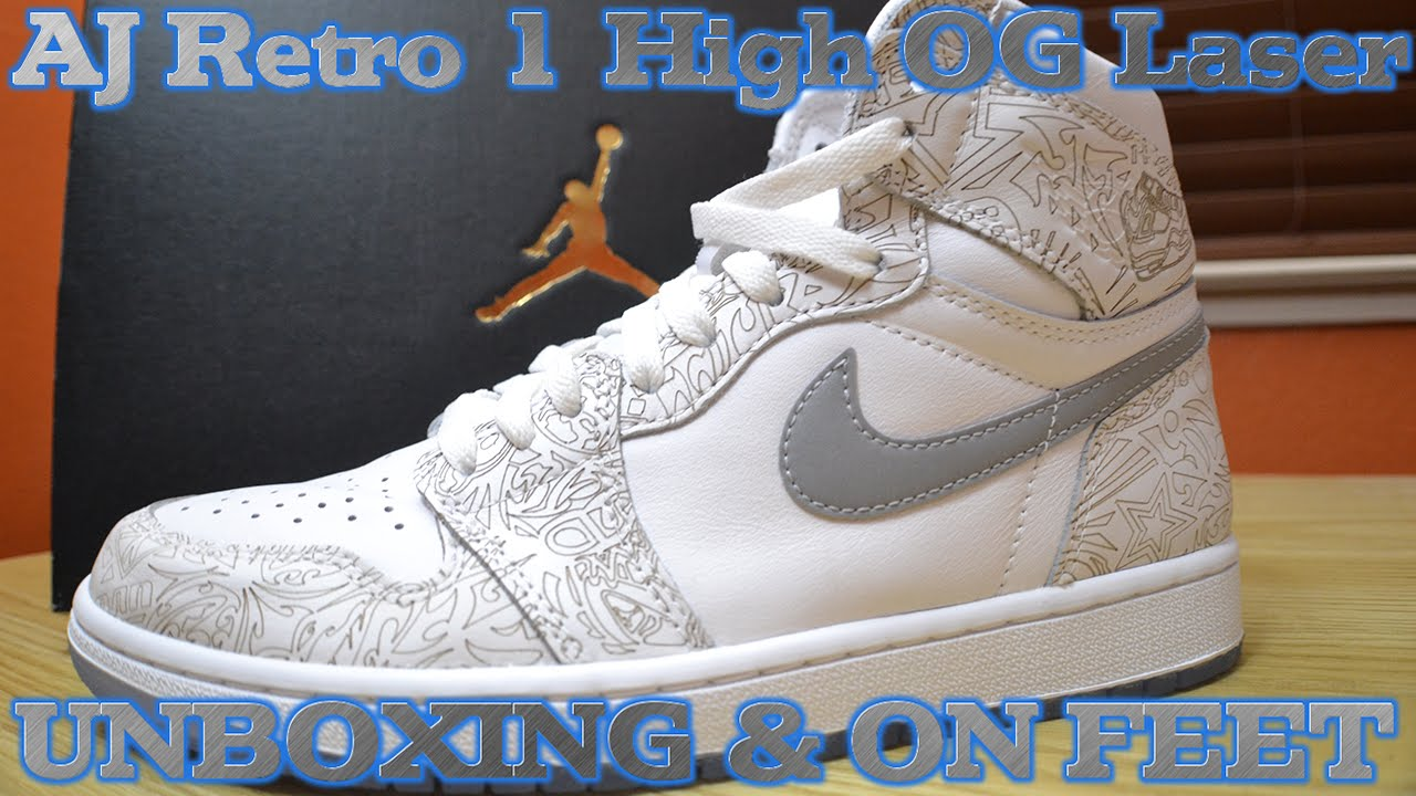 cheap for discount a8a08 e9b63 Air Jordan Retro 1 High OG Laser UNBOXING + DETAILED LOOK   ON FEET -  YouTube