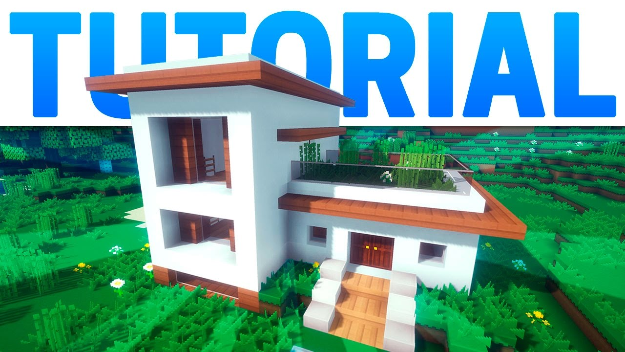 Minecraft casa moderna con jard n en el techo tutorial for Tutorial casa moderna grande minecraft