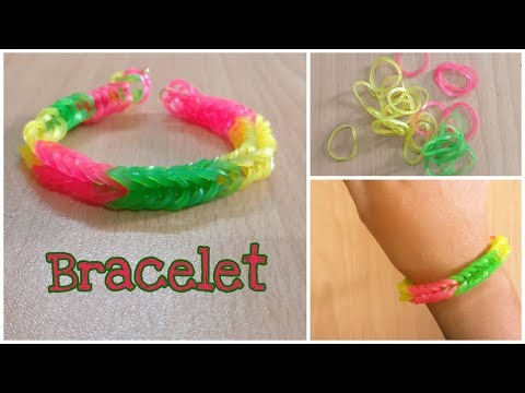 How To Make Loom Bracelet With Your Fingers | Rainbow Loom Bracelete With Rubber Bands | DIY