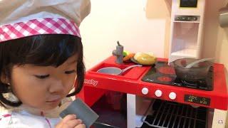 ママにおいしいおりょうりを作ろう!!おかいものごっこ お店やさんごっこ Cooking with  kitchen toy