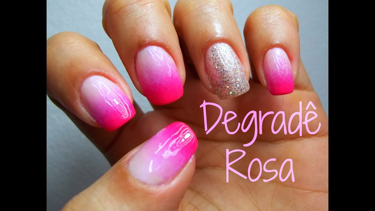 unha decorada f cil degrad rosa nail art tutorial youtube. Black Bedroom Furniture Sets. Home Design Ideas