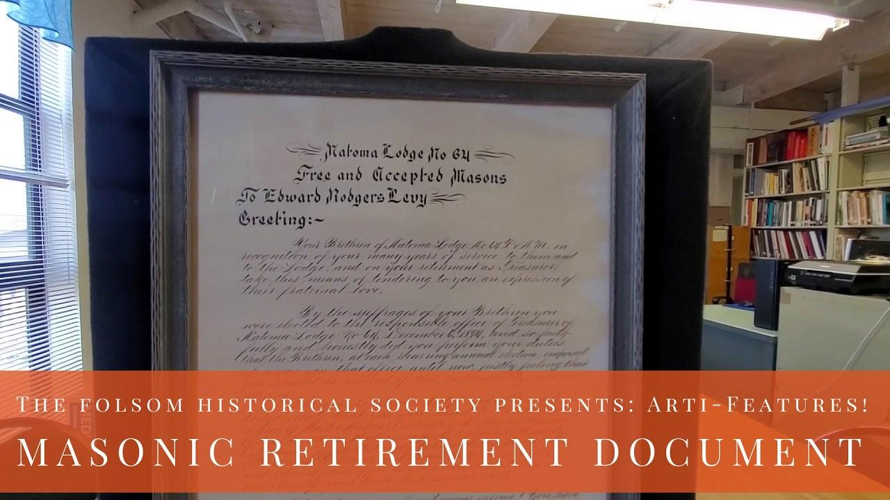 Artifact Features  - Historic Folsom Masonic Document