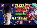 FAKER EZREAL  JUNGLE GAMEPLAY NEW META 7.18 RANKED KOREAN LEAGUE OF LEGENDS