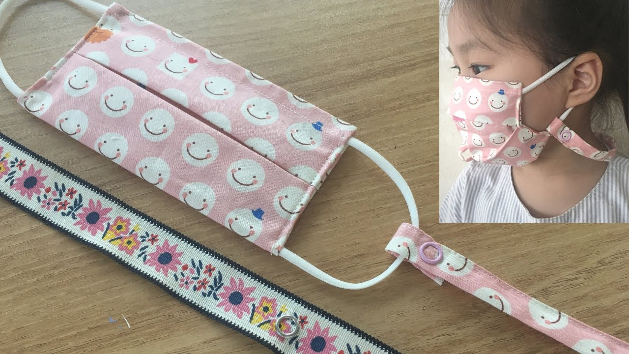 How to make Face Mask strap necklace : sewing tutorial : 마스크 스트랩 목걸이 만들기 : 가시도트 단추 달기
