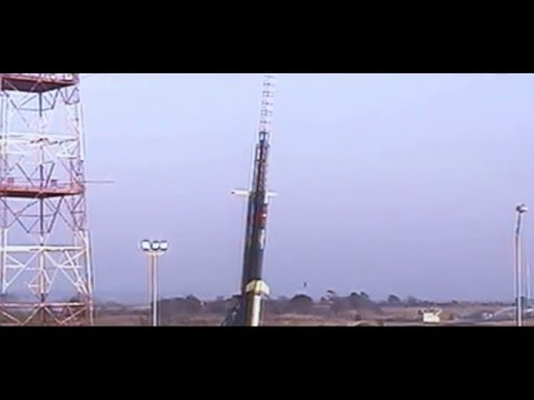 A sounding rocket launches from the Wallops Flight Facility in Virginia