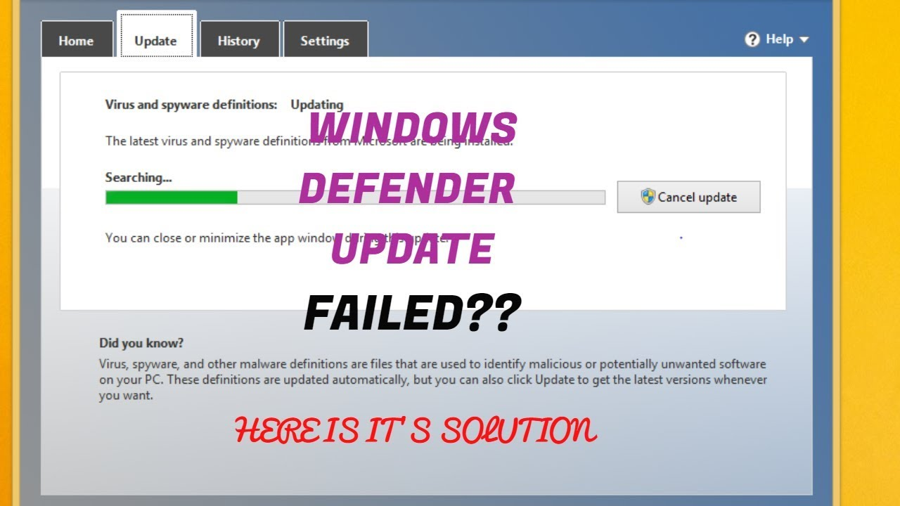 Virus And Spyware Definitions Update Failed Windows 7 - How