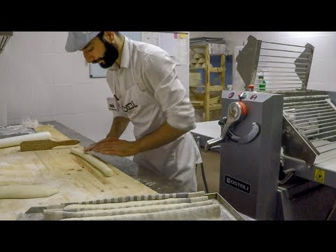 French Baguette And Italian Ciabatta. Making Dough And Baking. Minsk Street Food, Belarus