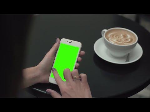 Woman On Green Screen Phone Stock Video