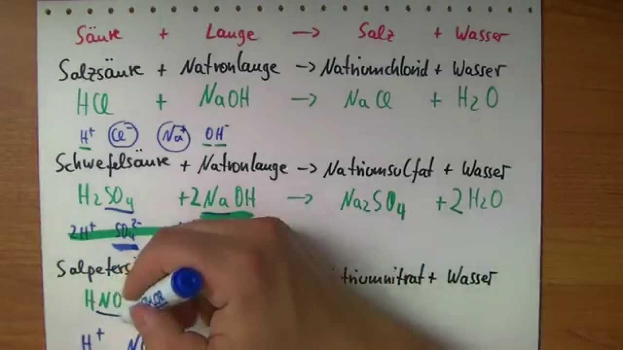 Neutralisation Reaktionsgleichungen - YouTube