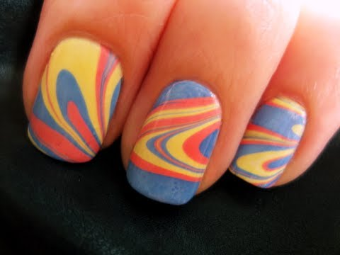 Water Marble Nail Art - Water Marble Nail Art - YouTube