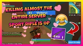 KILLING ALMOST THE ENTIRE SERVER 😂   SPORT RIFLE IS OP 🔥   ROBLOX ISLAND ROYALE 🌴