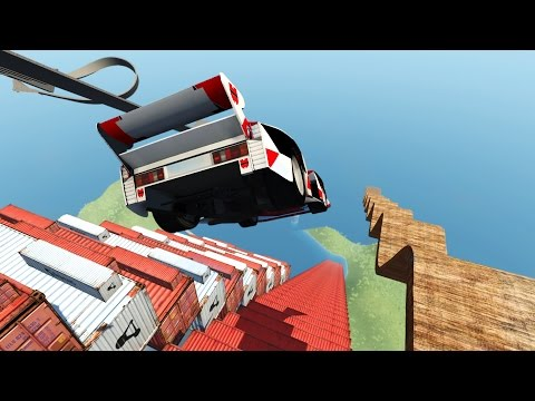 CRASH TESTING CARS OFF STAIRCASE OF DEATH! Driving Off a Cliff! (BeamNG Drive Mods)