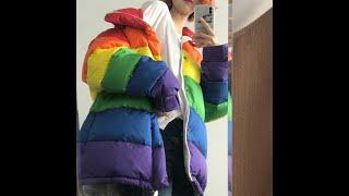Женская свободная парка в полоску повседневная радужная стеганая куртка размера плюс стиле