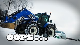 Tractor Power to the Rescue - Stuck Car VS. New Holland T5 Tractor