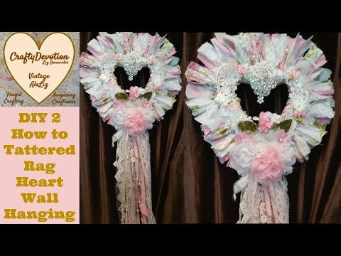Tattered Heart, Diy 2, Kit, Wreath tutorial, Wall Hanging, Indoor decor   Shabby Fabric Crafts, pink