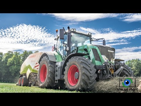Claas Quadrant 3200 et Fendt 828 au pressage