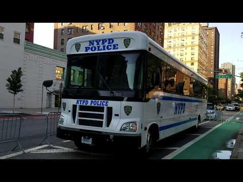 Brand New NYPD Patrol Borough Manhattan South Transport Bus Parked In Manhattan, New York