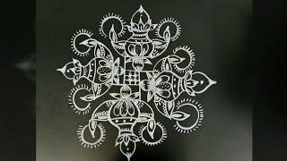 Easy rangoli design..kalasam rangoli..deewali special rangoli..6 to 6 dots..