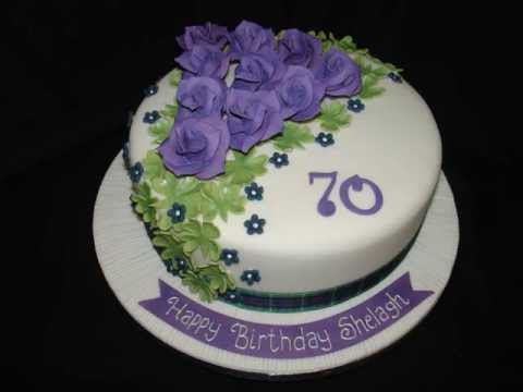 70th Birthday With Purple Roses Fondant Cake