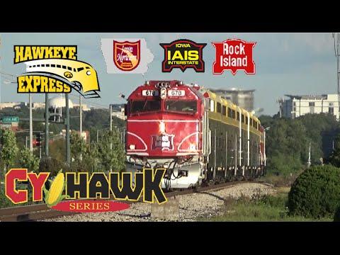 Iowa Hawkeyes CYHAWKS Game!  Railfanning Hawkeye Express Coralville, IA