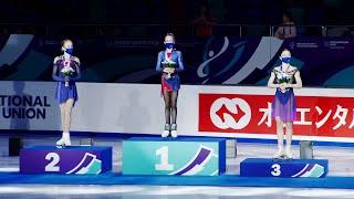 Церемония награждения Девушки Красноярск Гран при по фигурному катанию среди юниоров 2021 22
