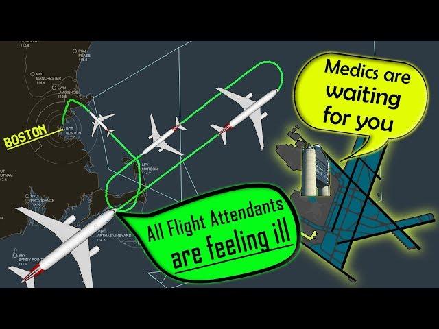 [REAL ATC] American A333   ALL FLIGHT ATTENDANTS SICK in flight!