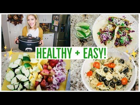 HEALTHY CROCKPOT MEALS! 3 EASY RECIPE IDEAS! BEEF 🌮🍍 CHICKEN 🍗 + VEGETARIAN 🍝🥗 | Brianna K
