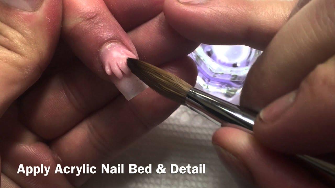 Detailed Wet Acrylic Nail Art Design Youtube