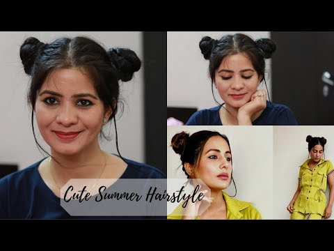 hairstyle-inspired-by-hina-khan-|-double-bun-hairstyle-for-summers-|-cute-bun-hairstyle-for-girls