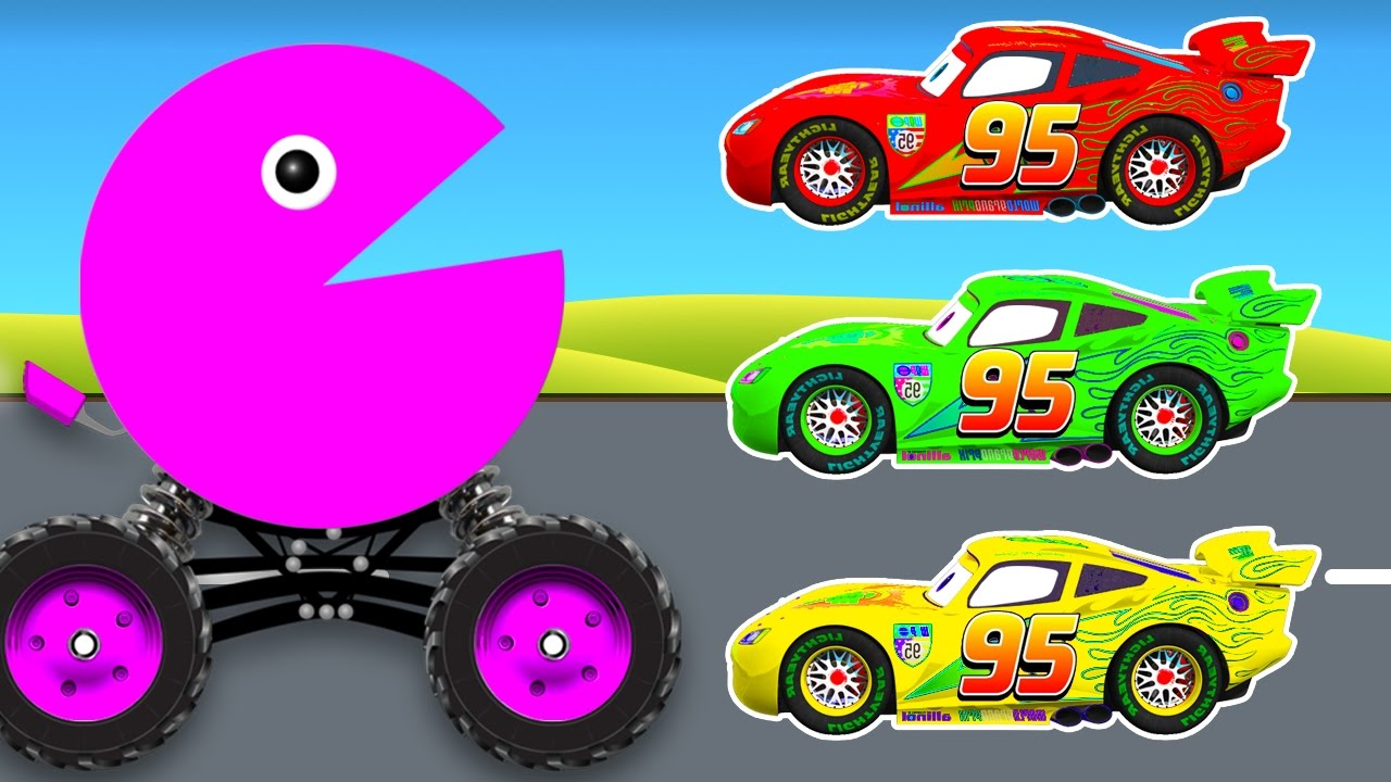 Learn Colors With Packman Cars Cartoon And Color Lightning
