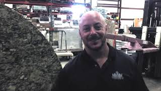 Cutting a circle shaped granite countertop with a Sasso K600 Five Axis Saw