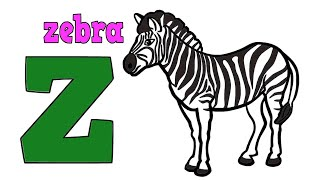 Zebra Drawing and Coloring For Kids Learning Colors and Zebra Coloring Pages