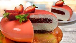 Йогуртовый муссовый торт с клубничным кули