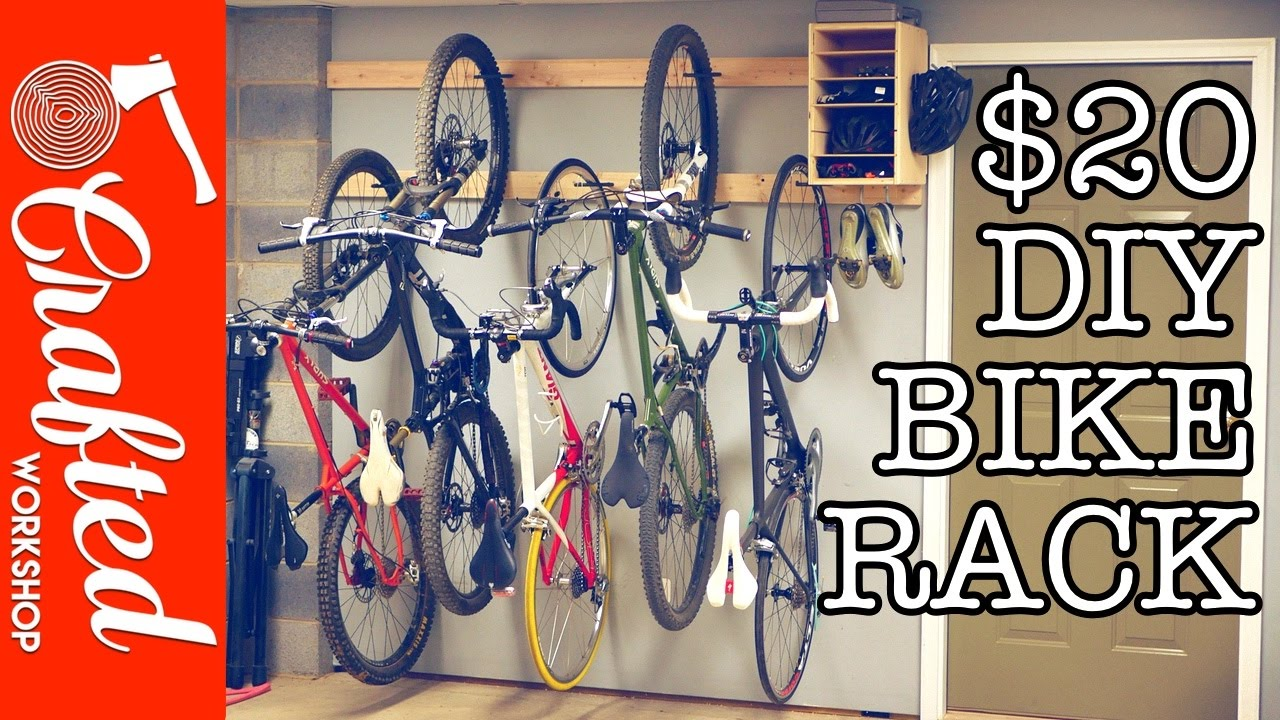 DIY Bike Rack For $20 / Bike Storage Stand U0026 Cabinet For Garage | Crafted  Workshop