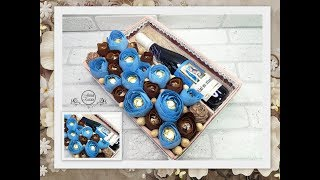 SWEET BOX of SWEETS WITH WINE and NUTS with your own hands бук Bouquets of sweets with wine