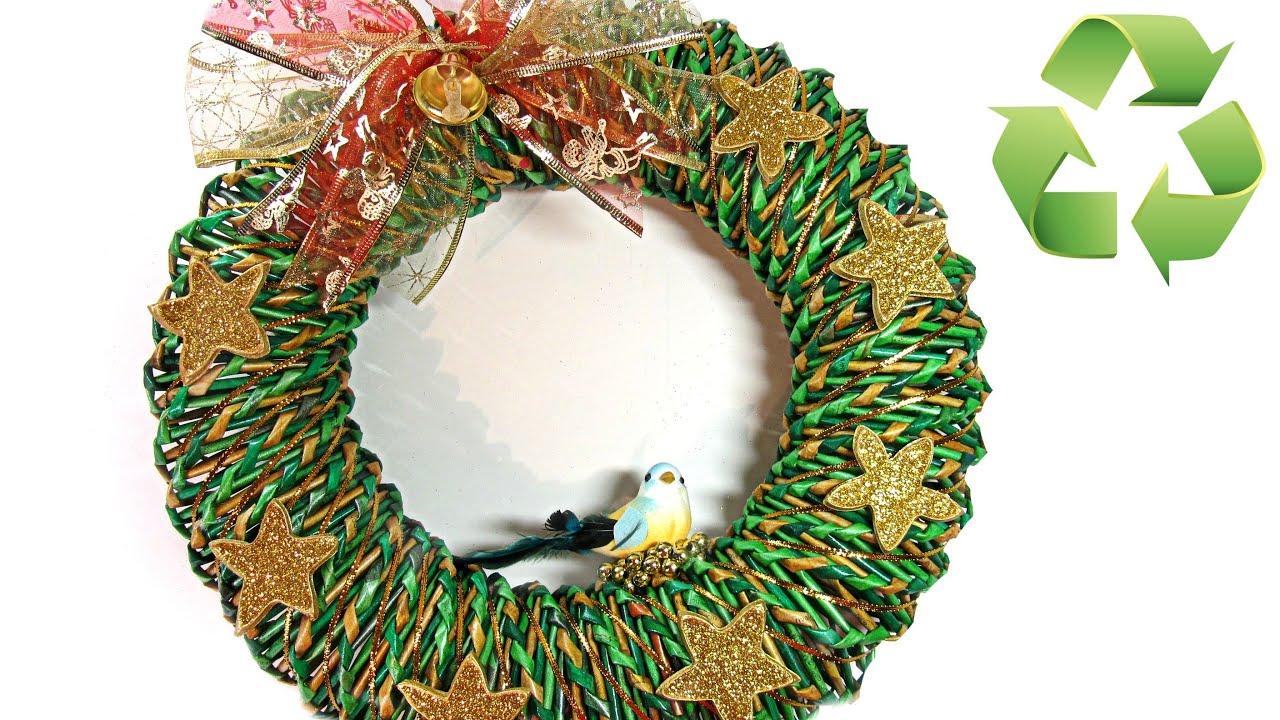 Como hacer una corona de Navidad de papel Christmas ornament YouTube