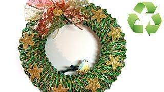 Como hacer una corona de Navidad de papel. Christmas ornament. thumbnail