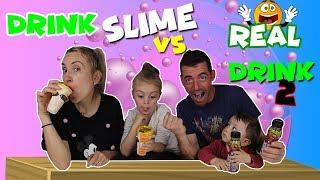 DRINK SLIME VS REAL DRINK 2!! Bebida Real Vs Bebida de Slime 2!! Enredos en Familia