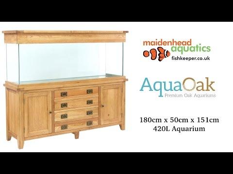 Aqua Oak 180cm 'Doors & Drawers' Aquarium And Cabinet