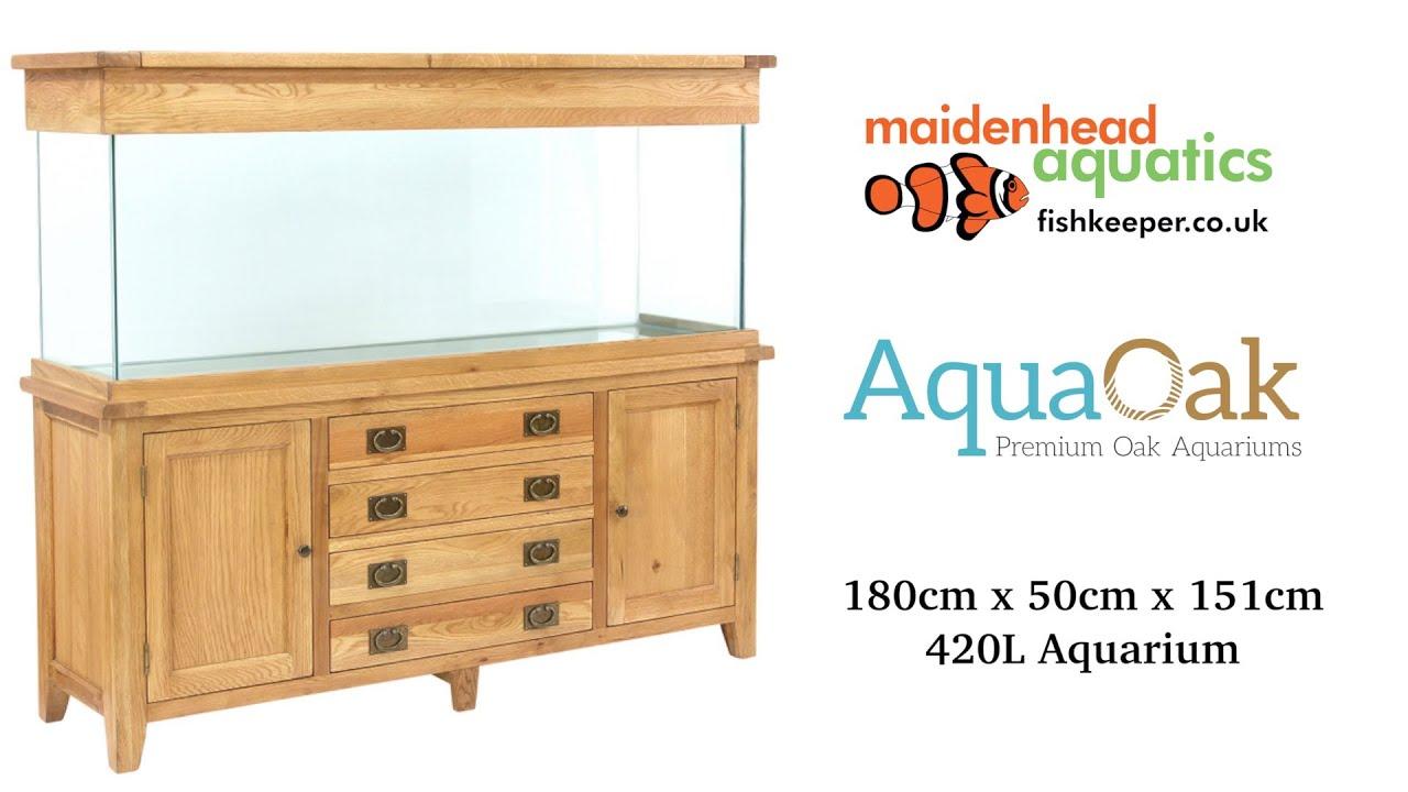Aqua Oak 180cm Doors Drawers Aquarium And Cabinet