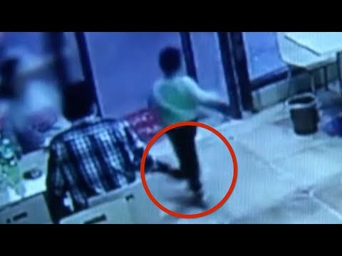 Woman deliberately tripped boy after getting hit by plastic door curtains