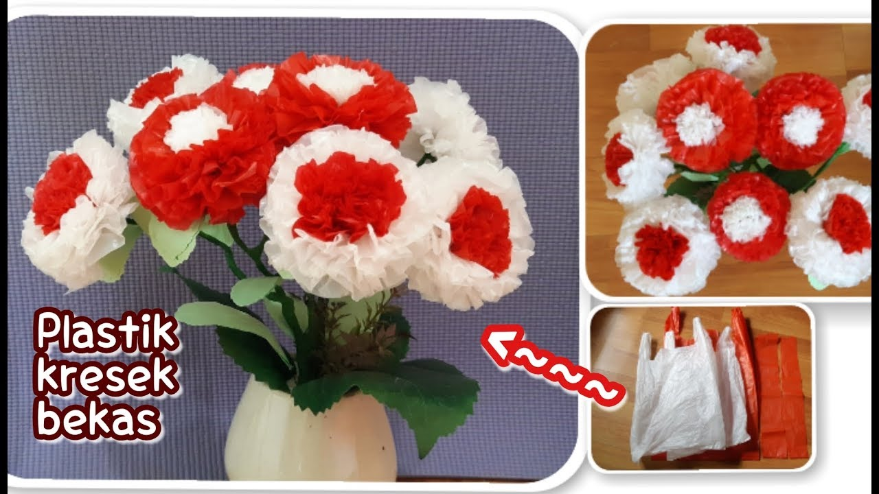 Cara Membuat Bunga Dwi Warna Dari Plastik Kresek Bekas Youtube