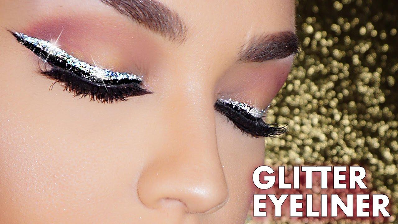 How To Easy Glitter Winged Eyeliner Makeup Tutorial Beginners Glitter Liner