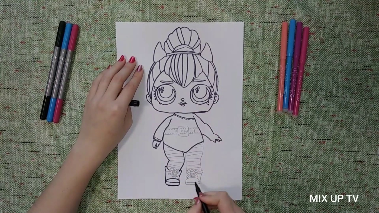 Coloring L.O.L. surprise/L.O.L. doll/Раскраска куклы Лол ...
