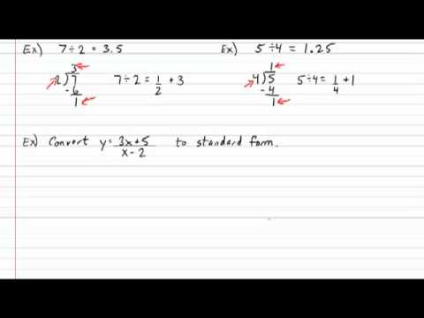 Rational Function General To Standard Form Youtube