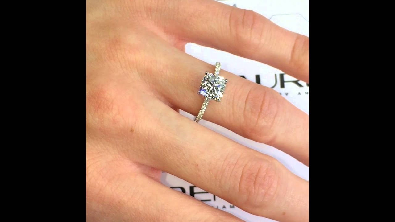 cushion diamond in cusion white engagement a carat gold ring